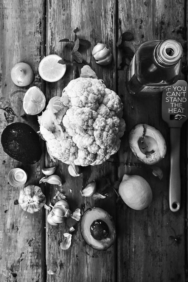 Guacamole over Roasted Cauliflower