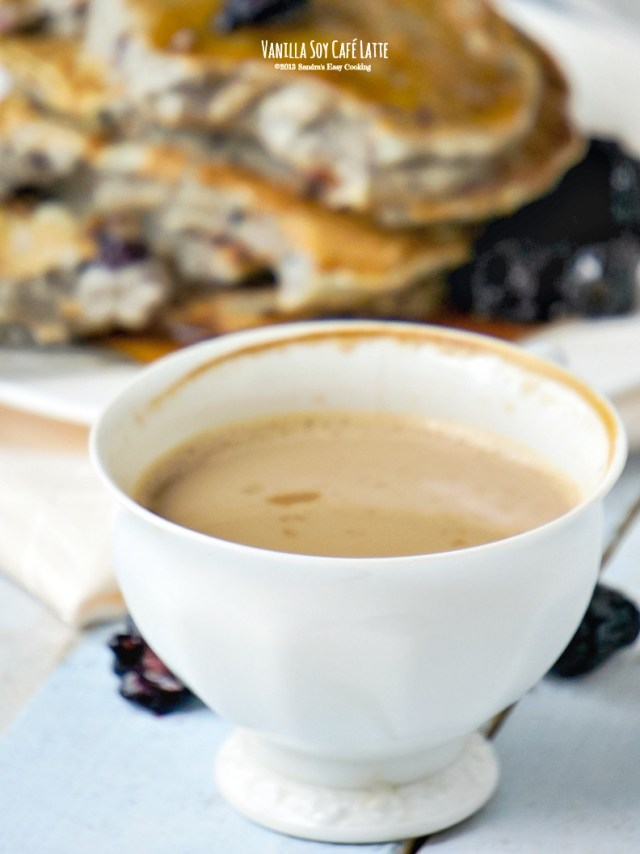 Vanilla Soy Caffe Latte with pancakes