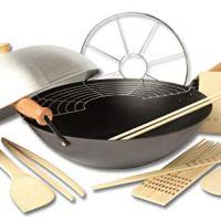 Joyce Chen 22-9938, Pro Chef 14 Inch 10 Piece Excalibur Non-Stick Wok Set