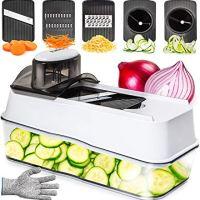 Mandoline Slicer Spiralizer Vegetable Slicer - 5 in 1 Veggie Slicer Mandoline Food Slicer with Julienne Grater - V Slicer Mandoline Cutter - Vegetable Cutter Zoodle Maker - Vegetable Spiralizer