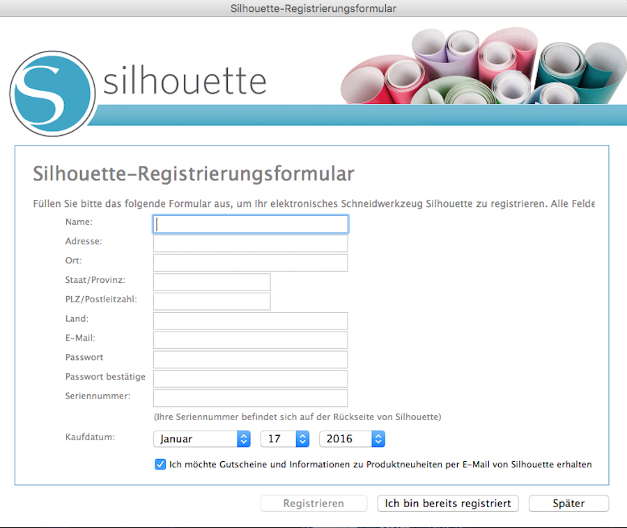 Installation silhouette studio V3 Software Schritt 3