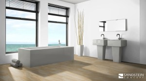 Bathromm Wellness Room with Sandstone Flooring Design Königstein