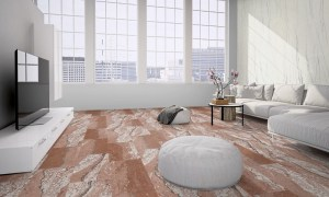 Loft with flexible sandstone floor covering design red cloud