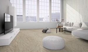 Loft with flexible sandstone floor covering design white rock