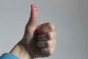 thumbs up with a smiley