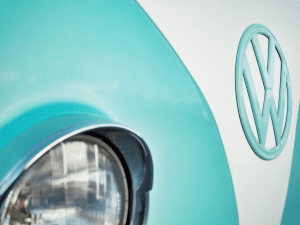 Volkswagen Beetle front with logo up close