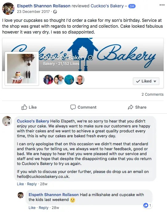 cuckoo's bakery dealing with negative reviews