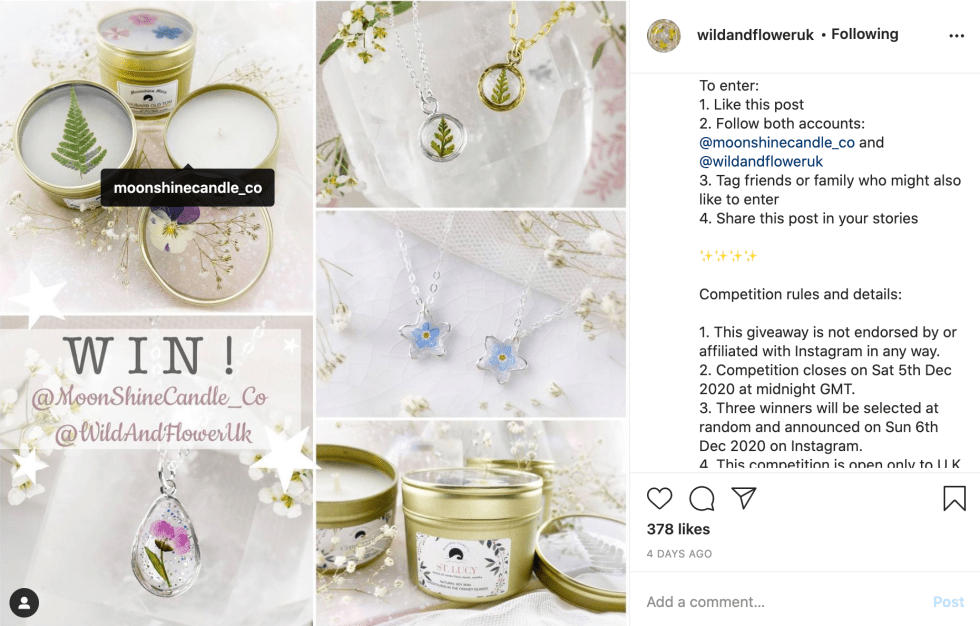 instagram collaborative giveaway example