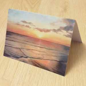 Quality art print greetings card by Sandy Kendall, sunset at West Wittering, West Sussex, UK