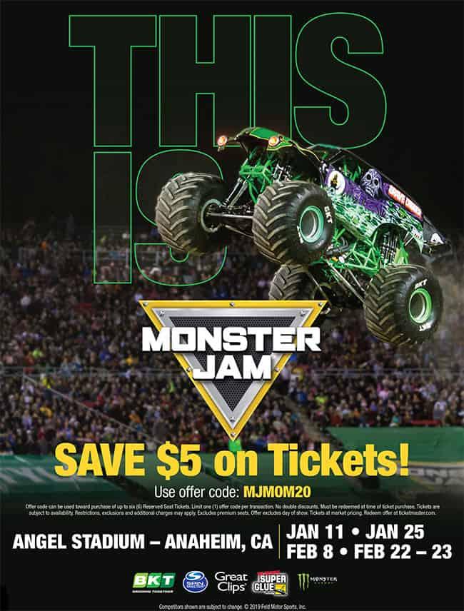 monster jam 2020 at angels stadium