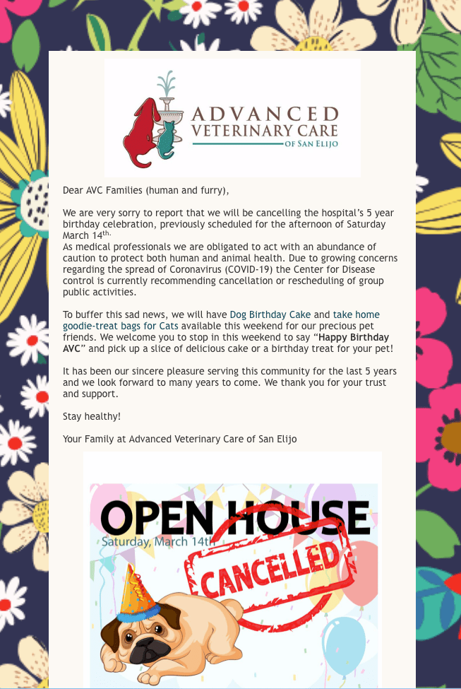 AVC Open House - Cancelled!