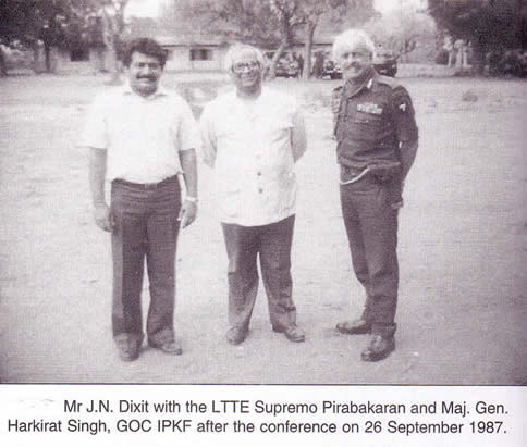 Prabakaran J.N. Dixit & Harkirat Singh September 26 1987 after conference