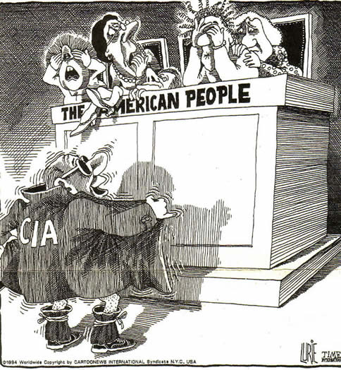 Ranan Lurie cartoon on CIA exposing itself to Americans 1994