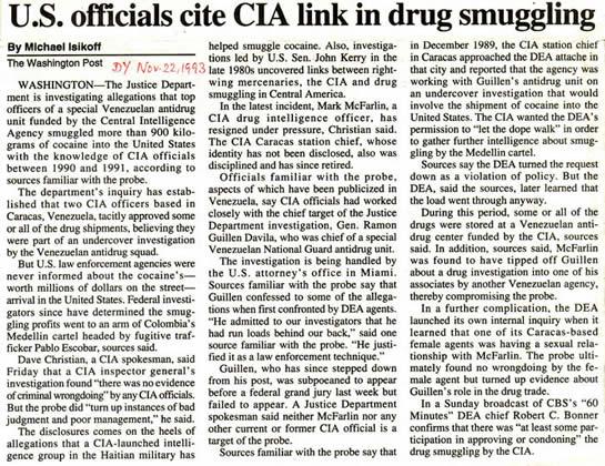 Washington Post Nov 22 1993 article on CIA & drug smuggling Michael Isikoff