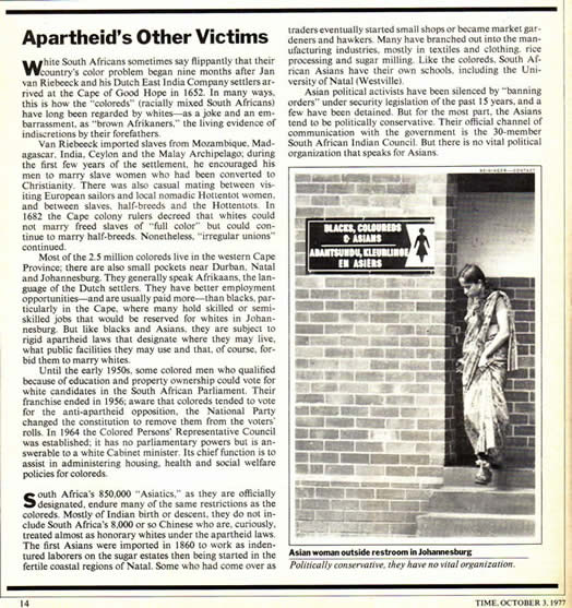 Apartheid's Other Victims Indians Asians TIME October 3 1977