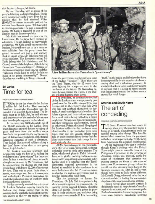 military showdown The Economist August 5 1989 India Sri Lanka