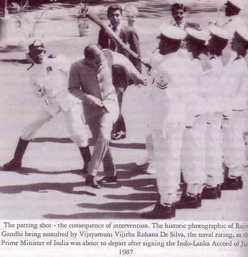 Rajiv Gandhi assaulted 1987 by Sri Lankan sailor