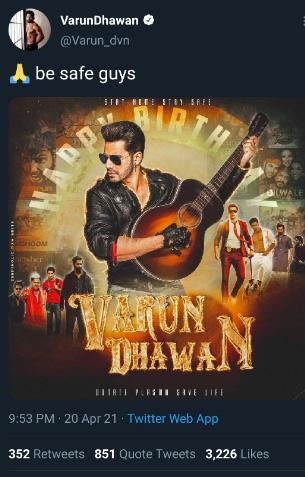 Pre Birth Day Post of Varun Dhawan
