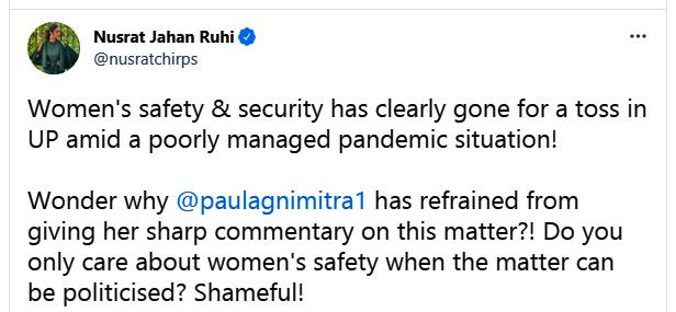 TMC MP Nusrat Jahan slams BJP MLA Agnimitra Paul by mentioning UP Gangrape news
