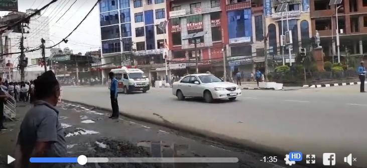 राष्ट्रपतिकाे सवारीका क्रममा तिब्र गतिले स्कर्टिङ गर्दा कालिमाटीमा भयानक दुर्घटना (भिडियो)
