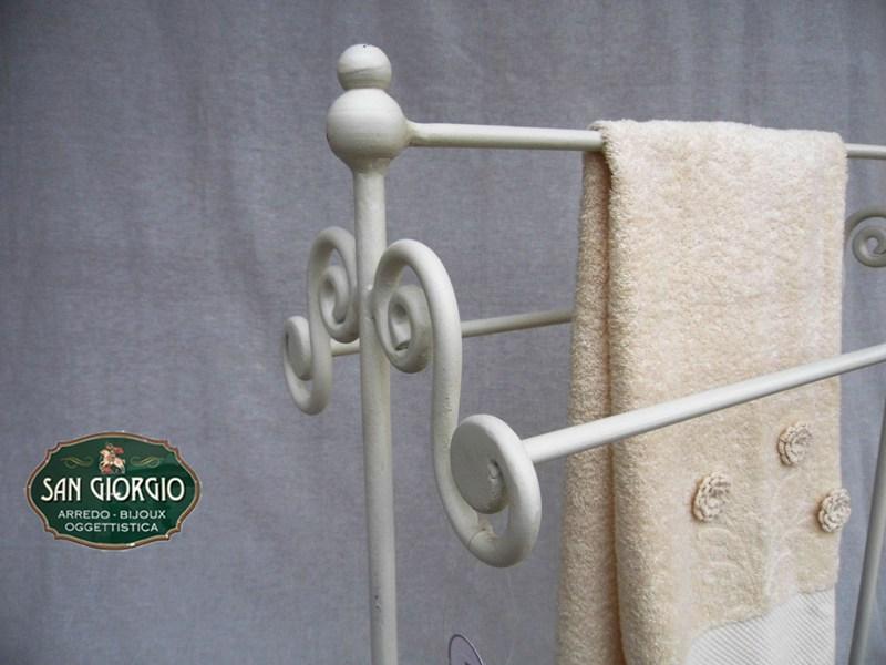 Porta asciugamano tre posti grande bianco san giorgio - Accessori bagno in ferro battuto ...