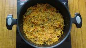 Prawn biryani -cooked