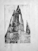Radierung Katholische Kirche Mariä Heimsuchung Zittau