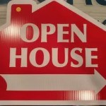 Large Red Open House Sign