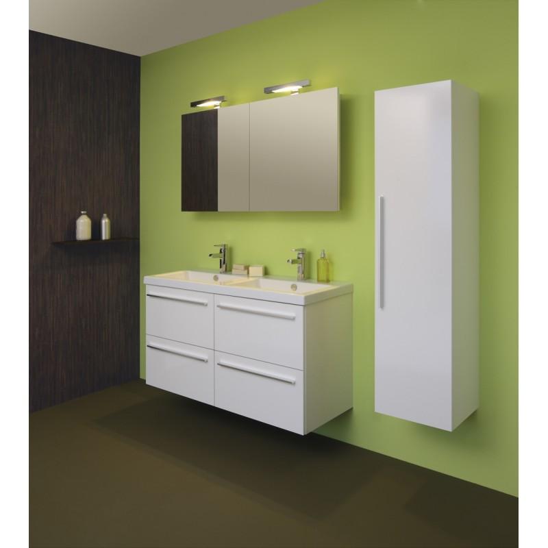 sanijura line 120cm 4 tiroirs blanc avec armoire de toilette sanidestock