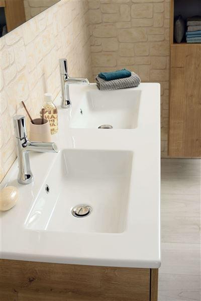 Plan De Toilette Avec Double Vasque Ceramique Blanche Nolita 120 Cm Sanijura