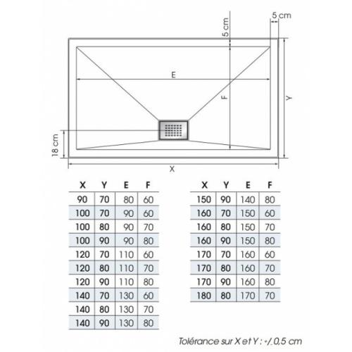 receveur rectangle 70x90 en biocryl kinesurf blanc