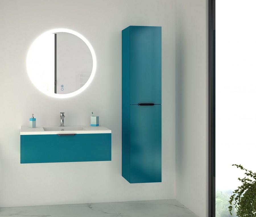 meuble simple vasque loft 90 bleu canard
