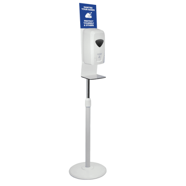 White Touch Free Height Adjustable Automatic Sanitiser Station