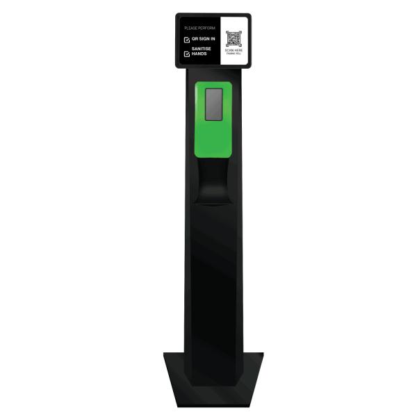 Australian Made Black Sanitiser QR Code Station Green Dispenser