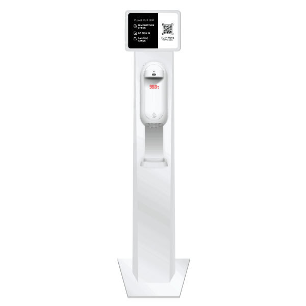 body temperature scan sanitiser station and QR code sign-in station