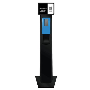 Australian Made Black Sanitiser Station Blue Dispenser