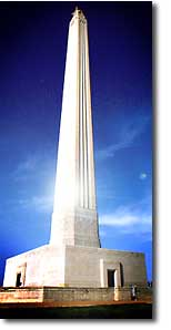 The San Jacinto Monument is 15 feet taller than the Washington Monument. Texas tourism brochure photo