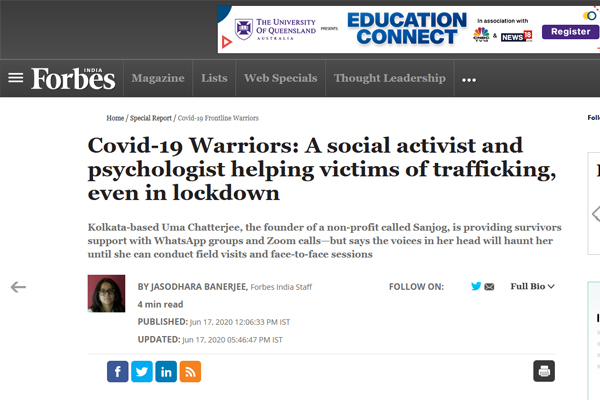 Covid-19 warriors: A social activist and psychologist, helping victims of trafficking, even in lockdown