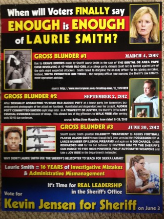 Kevin Jensen's supporters sent out this mailer, which specifically mentions Audrie Pott and her case.