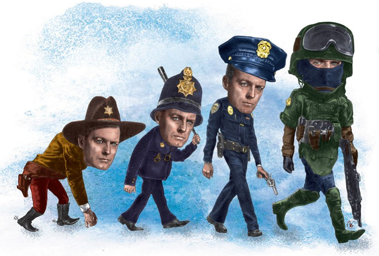 Local law enforcement has evolved as weapons have grown more sophisticated,  especially in the last 20 years. (Illustration by Kym Balthazar)