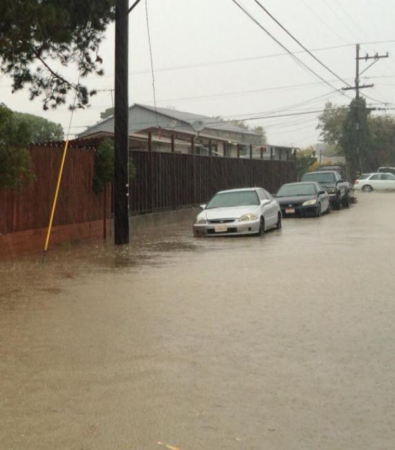 Flooding around Alviso, in north San Jose. (Photo by Mark Espinoza, via Facebook)