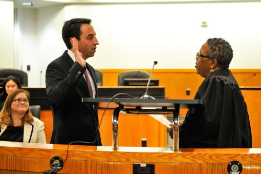 Rosen being sworn in to his second term.