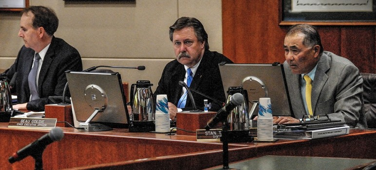 Water District CEO Beau Goldie, middle, and lead counsel Stan Yamamoto, right, are trying to withhold information regarding money inappropriately given to RMC. (Photo by Greg Ramar)