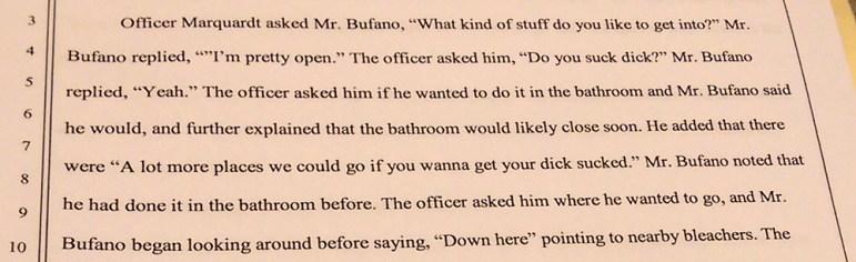 Officer Marquardt's account of Daniel Bufano's arrest.