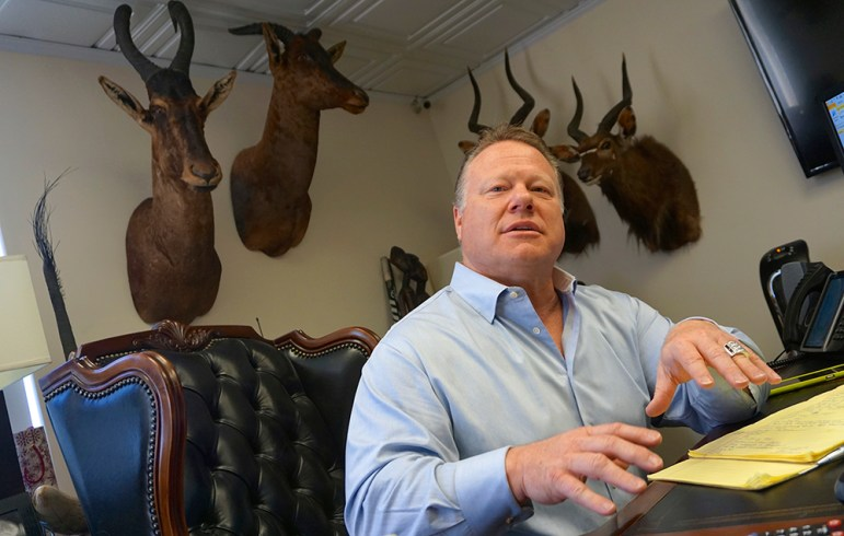 Jeffrey Stanley of Bad Boys Bail Bonds has turned his office into a big game hunting trophy room. (Photo by Jennifer Wadsworth)