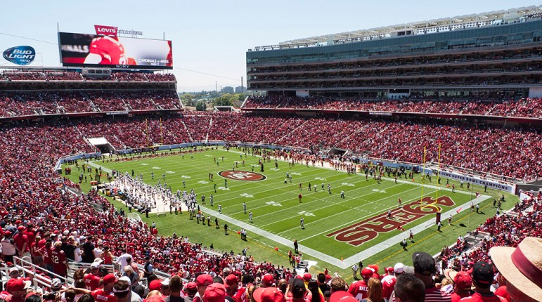 The future of Levi's Stadium is in jeopardy after the city of Santa Clara sent the 49ers' management company a 30-day notice for breach of contract. (Jim Bahn via Wikimedia Commons)