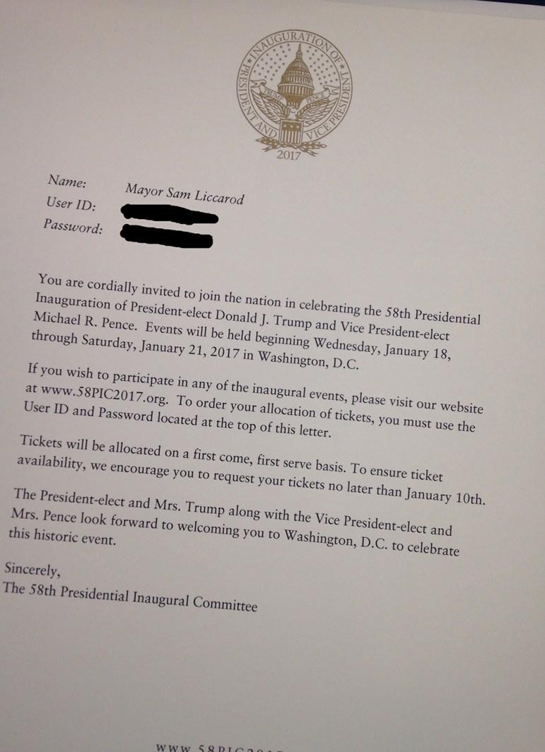 Donald Trump's inauguration committee misspelled San Jose Mayor Sam Liccardo's name on his invite.