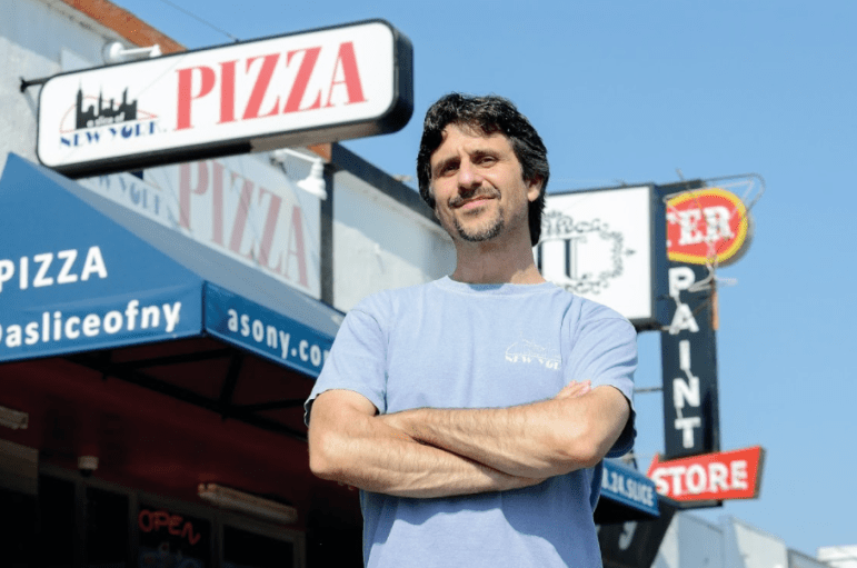 Kirk Vartan quit a career in tech to open his popular New York-style pizeria, A Slice of New York. The business now has shops in San Jose and Sunnyvale. (Photo by Greg Ramar)