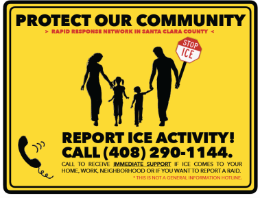 The city of San Jose encourages people to report suspected ICE raids to a volunteer-run hotline, which calls on people to keep an eye on federal agents when they come to local neighborhoods and connects targeted families with immigration attorneys.