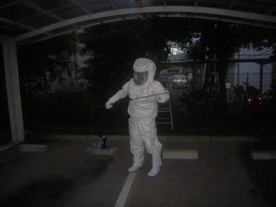 ハチ用防護服の着用